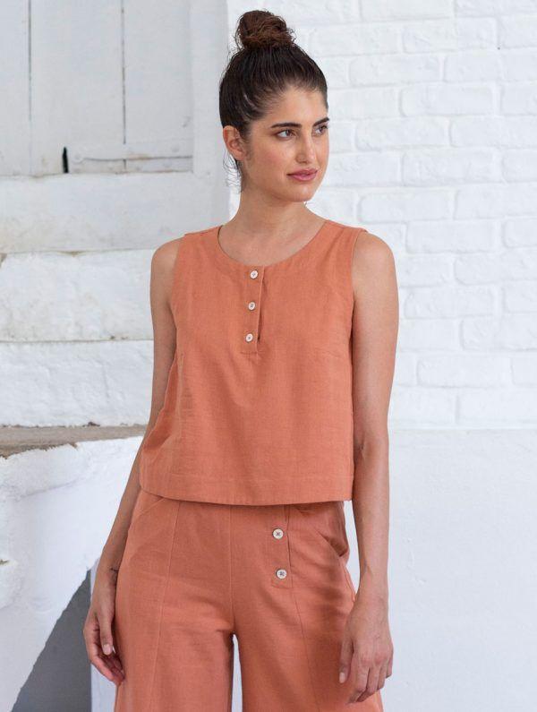 Blusa sin mangas de lino y algodón orgánico