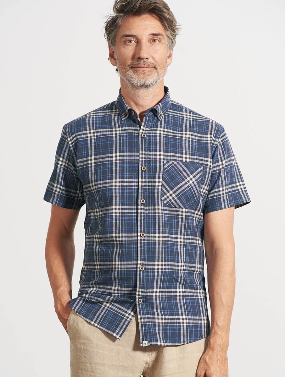 Camisa cuadros hombre manga corta cáñamo azul marino