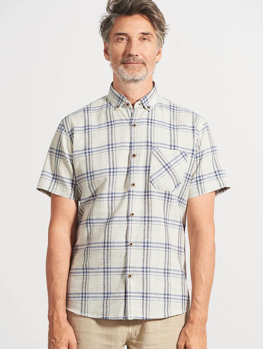 Camisa cuadros hombre manga corta cáñamo natural