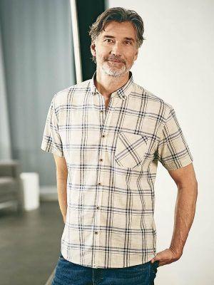 Camisa de manga corta a cuadros para hombre