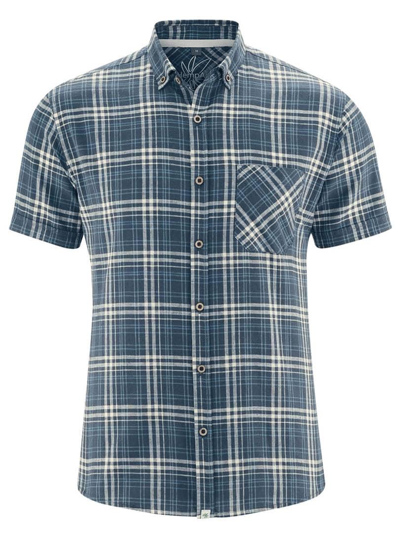 Camisa manga corta cuadros azul marino