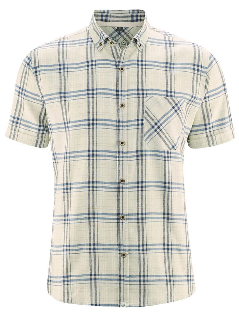 Camisa manga corta cuadros natural