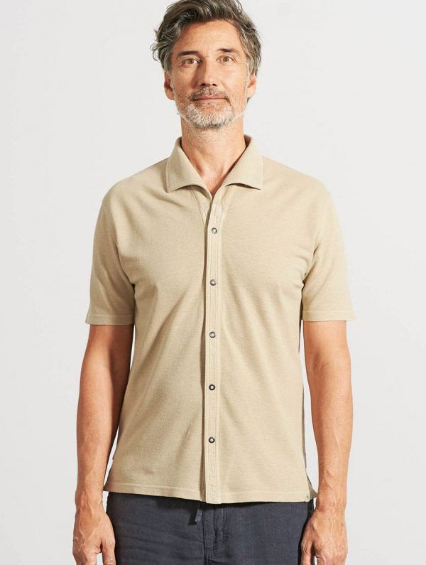 Camisa verano hombre manga corta beige
