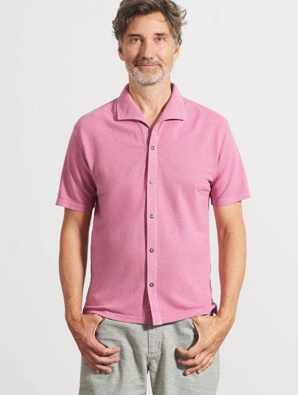 Camisa verano hombre manga corta rosa