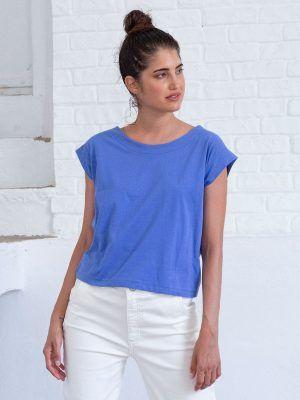 Camiseta azul mujer de algodón orgánico