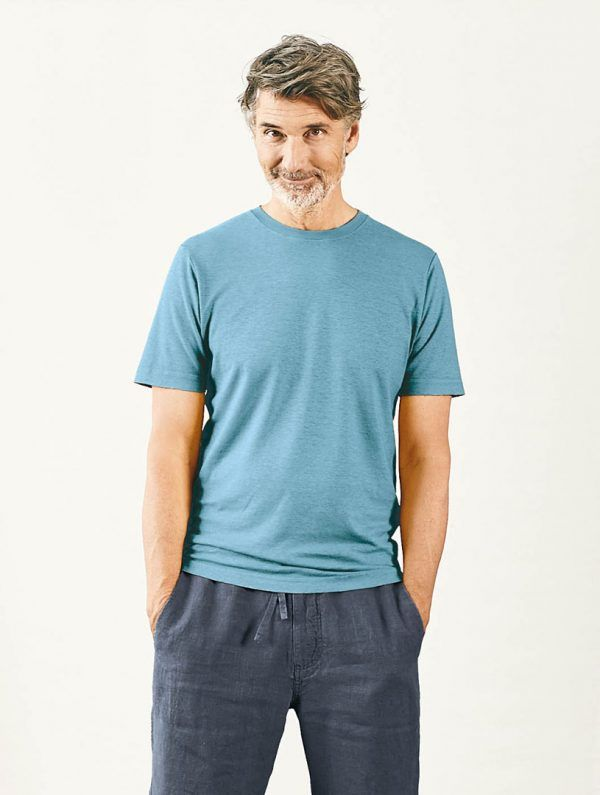Camiseta básica de algodón orgánico azul hombre