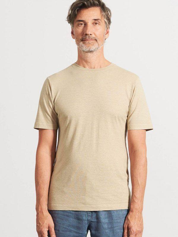 Camiseta básica de algodón orgánico beige hombre