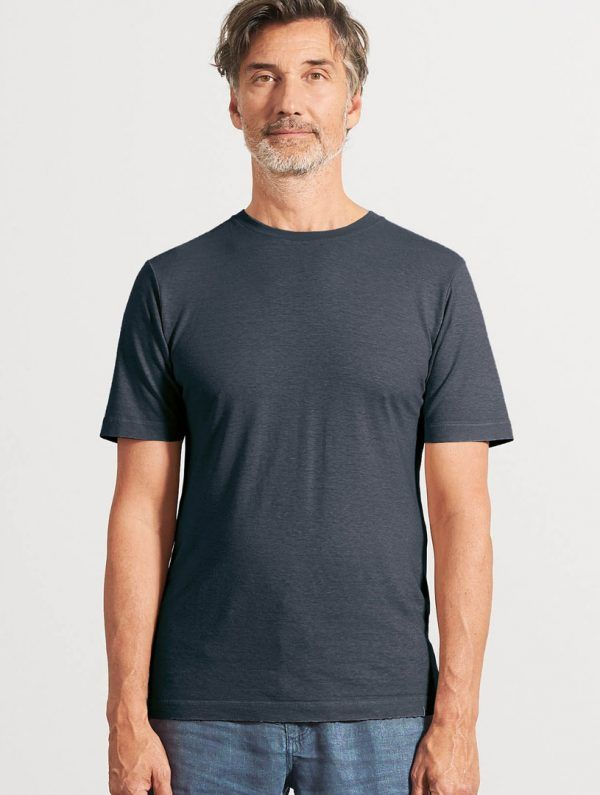 Camiseta básica de algodón orgánico negro hombre