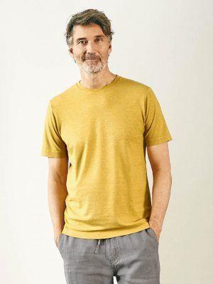 Camiseta de algodón orgánico y cáñamo mostaza para hombre