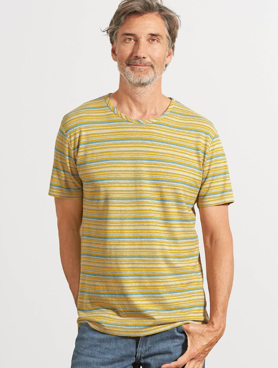 Camiseta de rayas manga corta mostaza