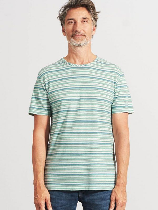 Camiseta de rayas manga corta verde