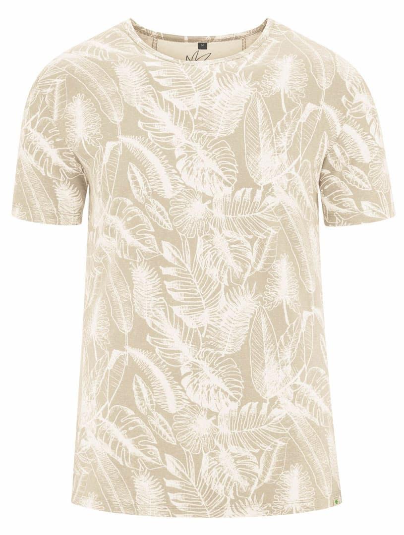 Camiseta ecológica beige estampado hojas hombre