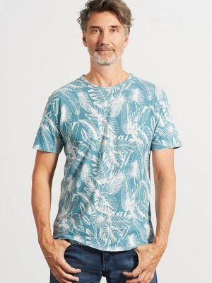 Camiseta ecológica hombre estampado hojas azul