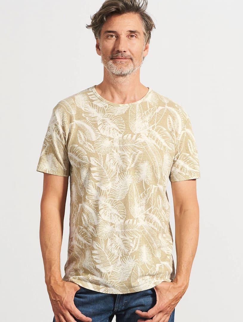 Camiseta ecológica hombre estampado hojas beige