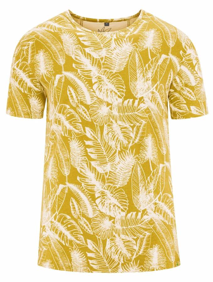 Camiseta ecológica mostaza estampado hojas hombre