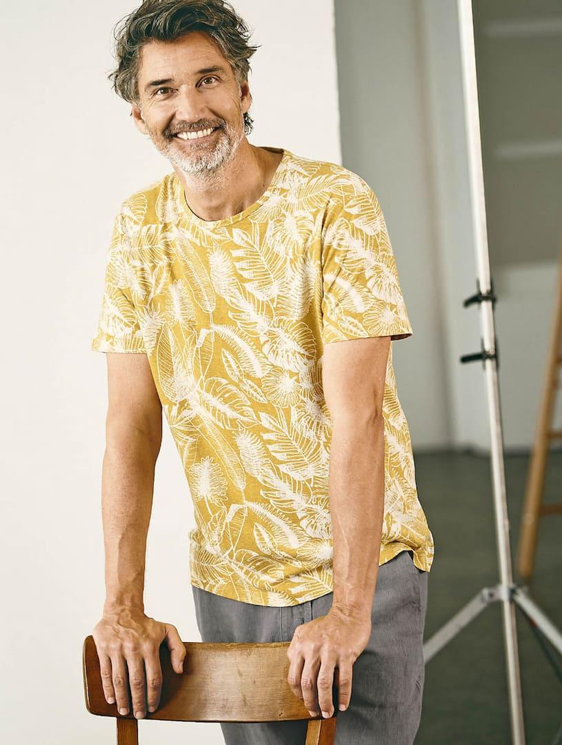 Camiseta ecológica para hombre con estampado de hojas