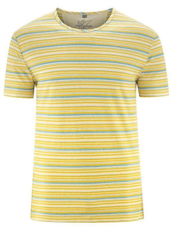 Camiseta rayas mostaza azul hombre