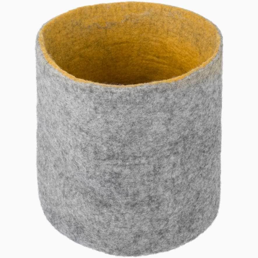 Cesta almacenaje fieltro gris mostaza talla m