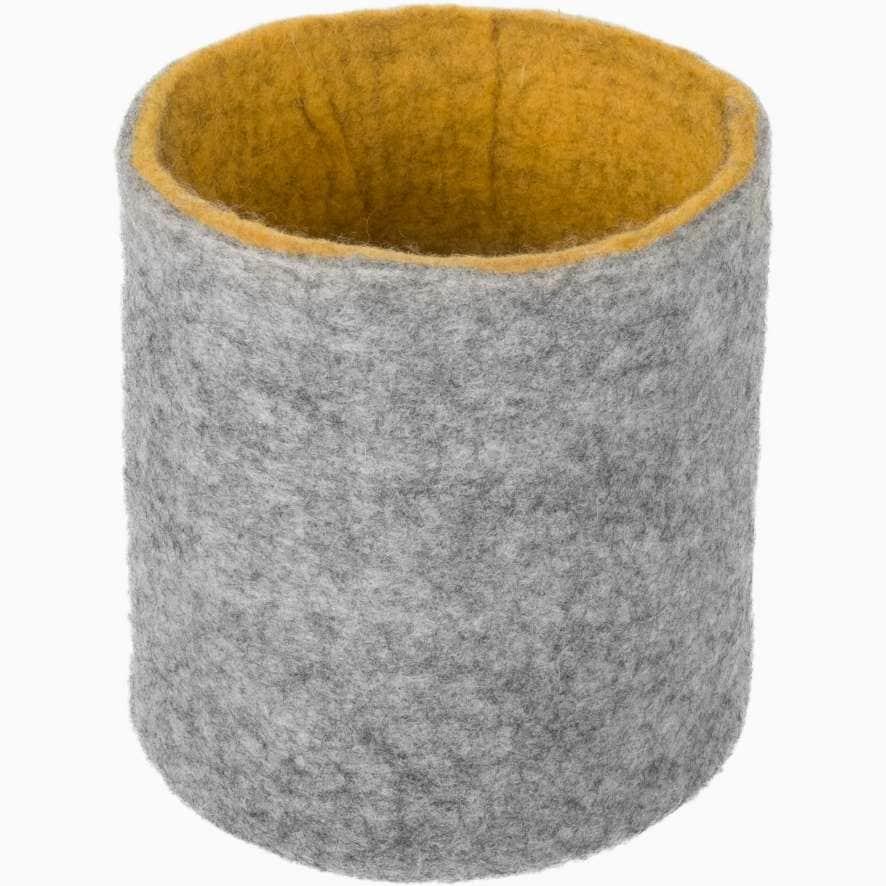 Cesta almacenaje fieltro gris mostaza talla s