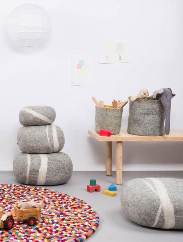 Cesta almacenaje infantil fieltro gris mostaza