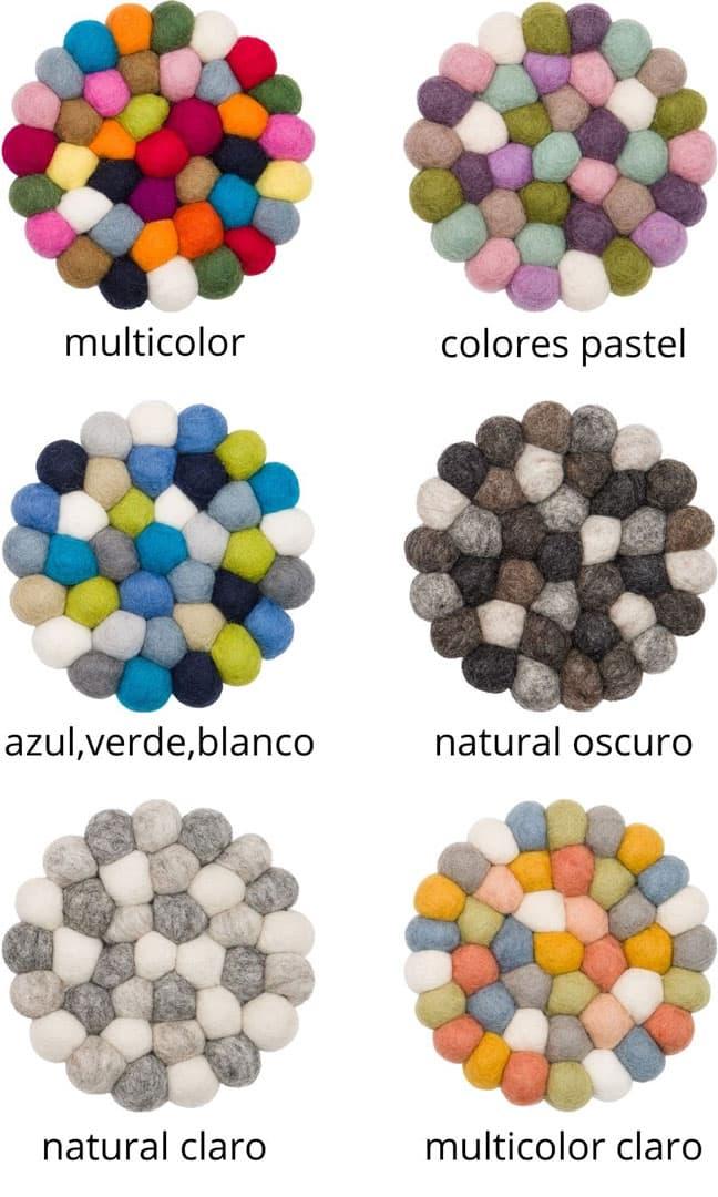 Colores alfombra redonda de bolas de fieltro