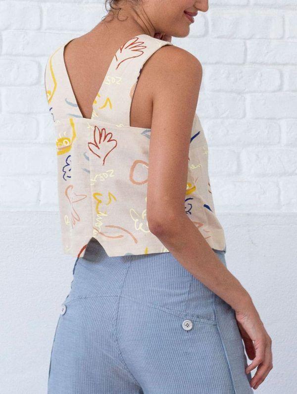Espalda blusa lino algodón orgánico