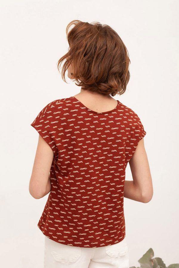 Espalda blusa manga corta teja algodón orgánico