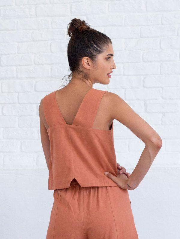Espalda blusa sin mangas lino algodón orgánico