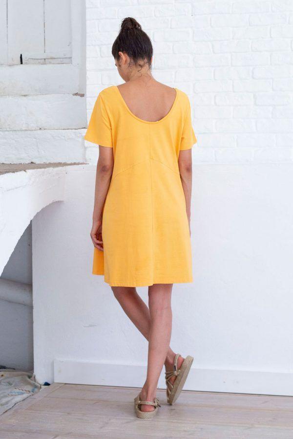 Espalda vestido corto amarillo algodón orgánico