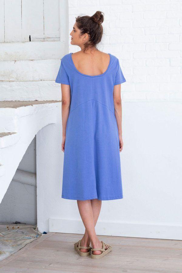 Espalda vestido midi azul algodón orgánico