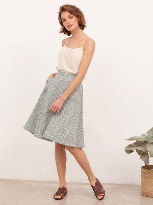 Falda de algodón orgánico azul claro estampada