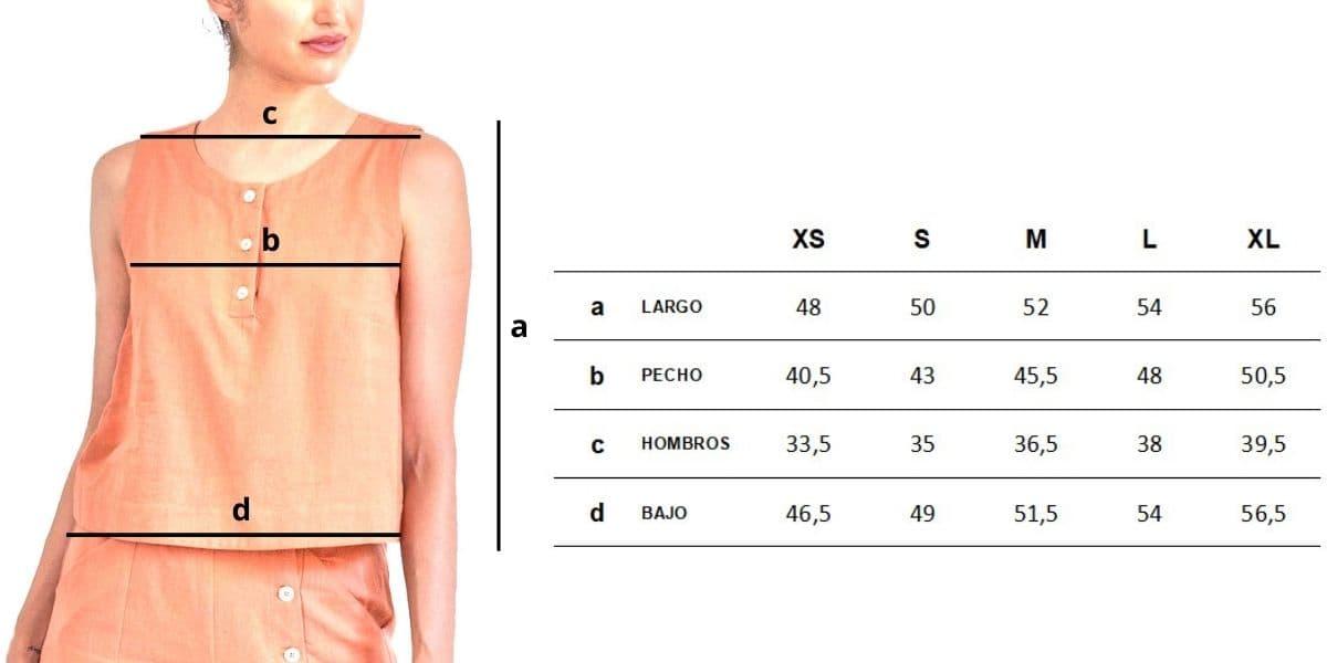 Guía de tallas blusa sin mangas de lino y algodón orgánico