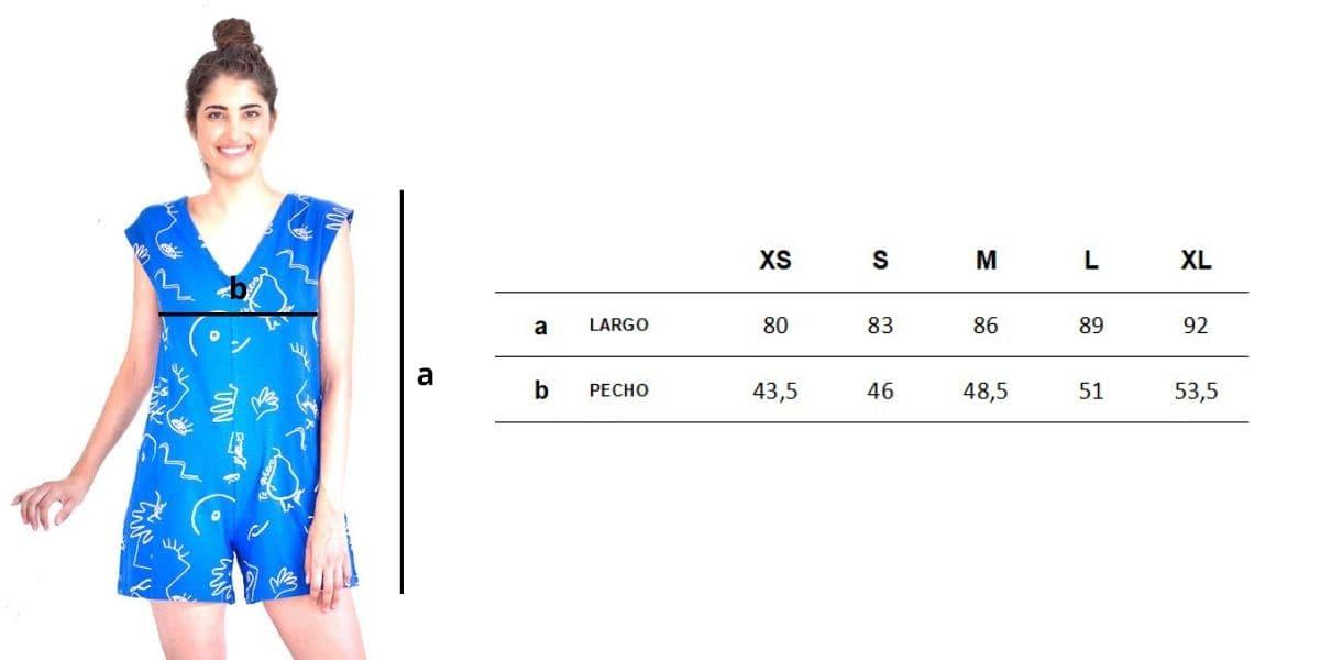 Guía de tallas mono corto de algodón orgánico azul estampado