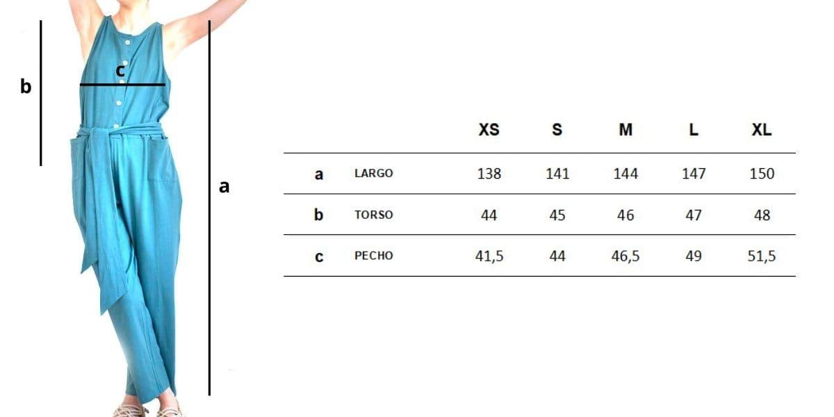 Guía de tallas mono largo de algodón orgánico azul