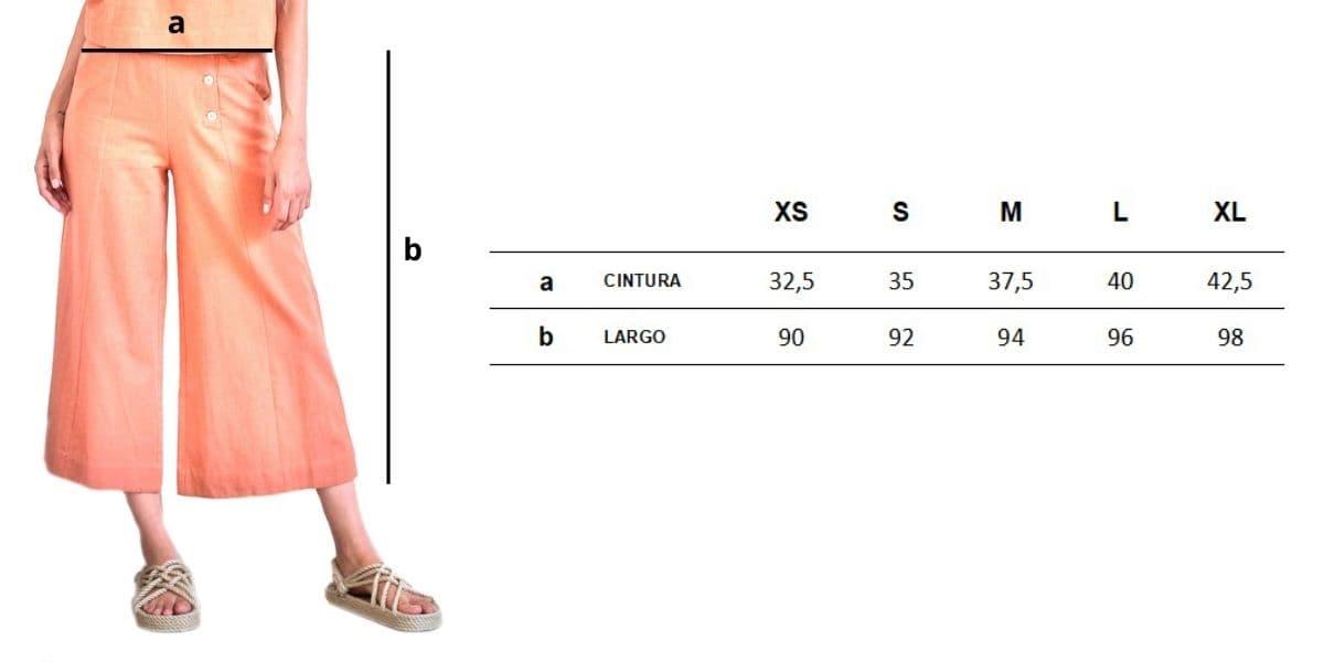 Guia de tallas pantalón culotte mujer color brandy