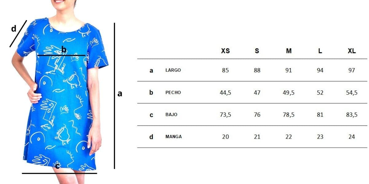 Guía de tallas vestido corto azul de algodón orgánico