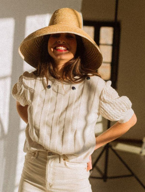 Jersey manga corta blanco acanalado