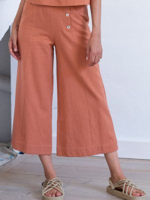 Pantalón culotte de algodón orgánico y lino