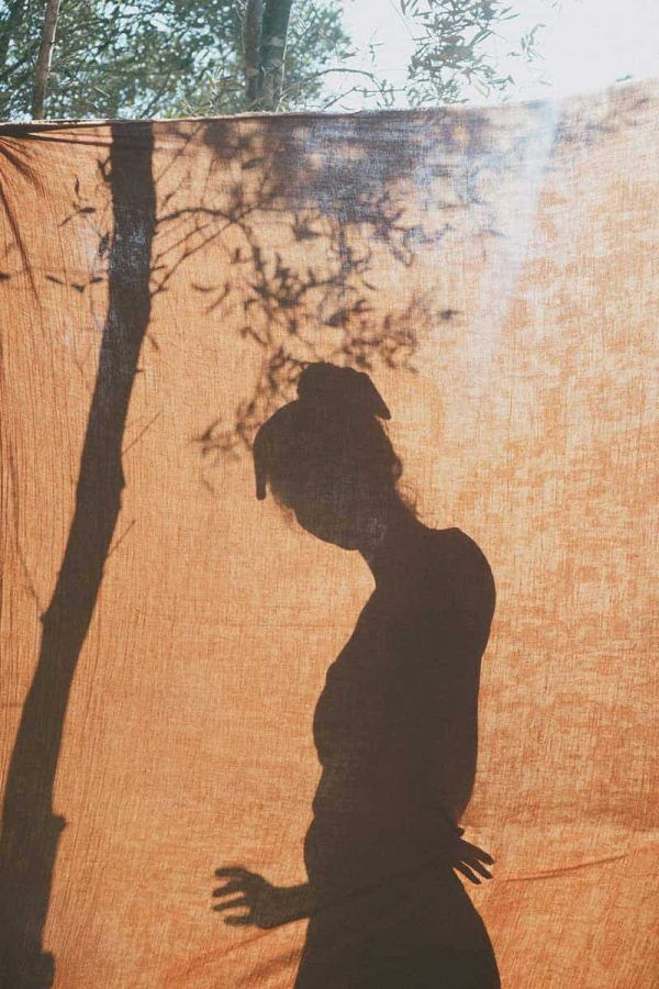 Sombra mujer tejido muselina algodón orgánico color teja