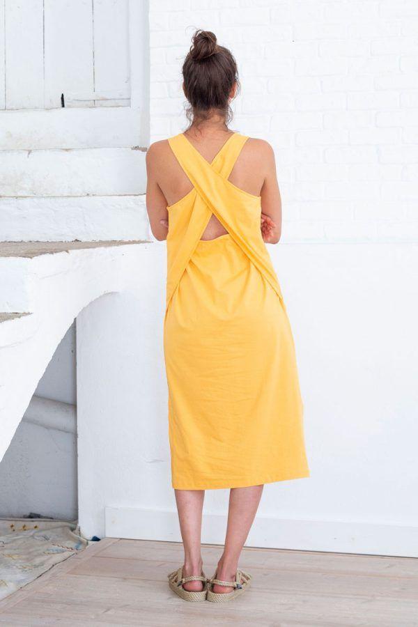 Vestido amarillo mujer espalda cruzada