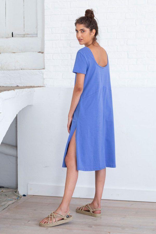 Vestido azul mujer aberturas laterales