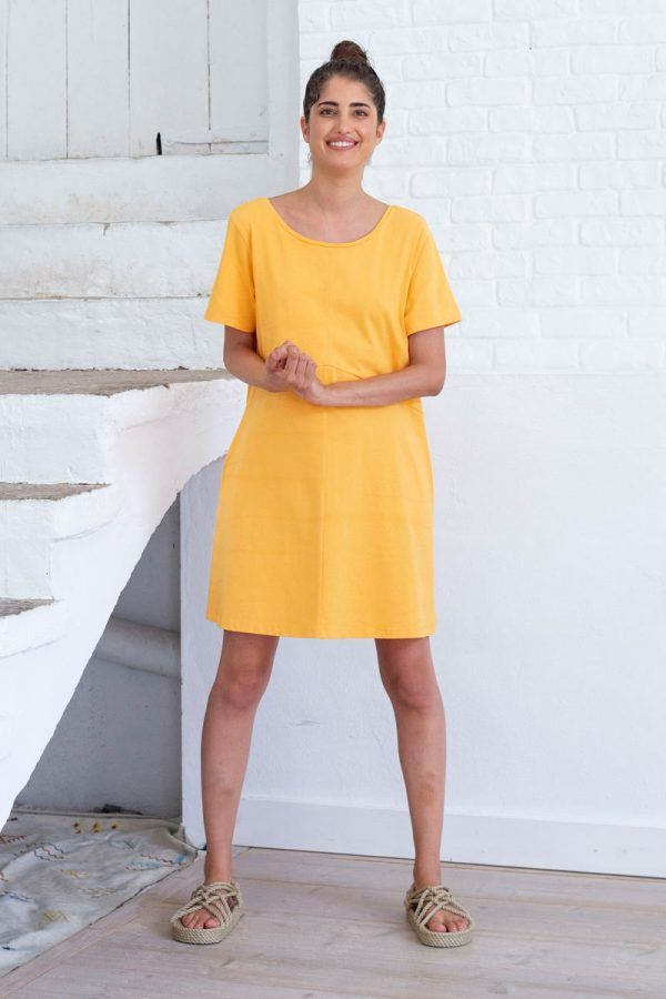 Vestido corto amarillo de algodón orgánico