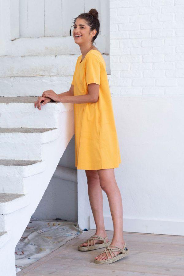 Vestido corto amarillo mujer con bolsillos