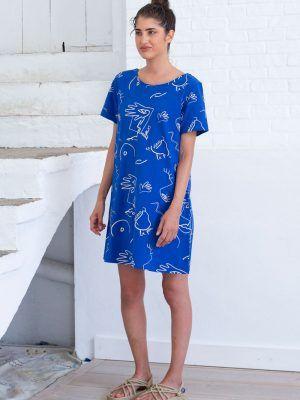 Vestido corto azul de algodón orgánico