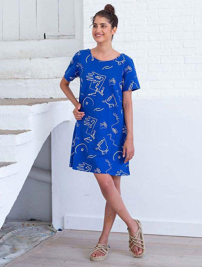 Vestido corto azul estampado algodón orgánico