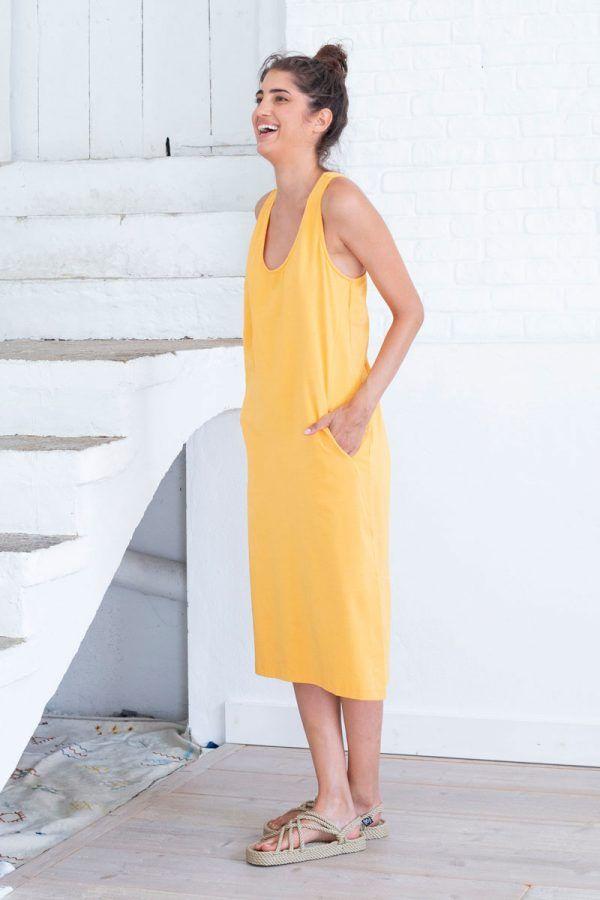 Vestido ecológico amarillo con bolsillo