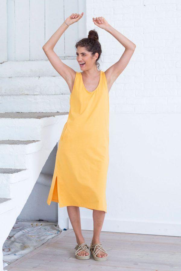 Vestido midi amarillo de algodón orgánico
