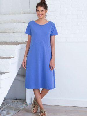 Vestido midi azul de algodón orgánico