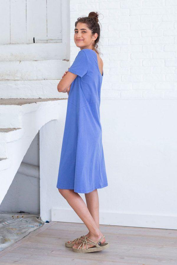 Vestido midi azul ecológico mujer