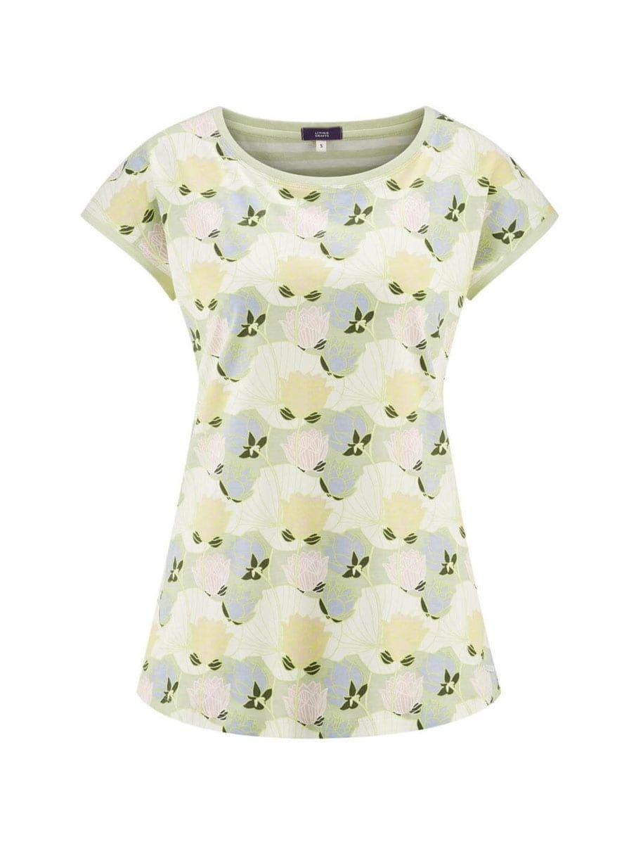Camiseta pijama mujer flores algodón orgánico manga corta